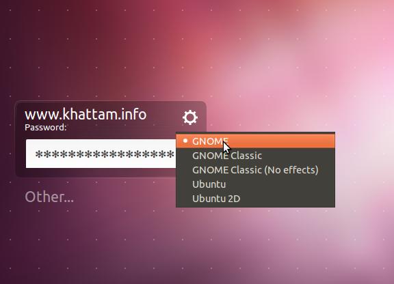 Select Gnome on Login Screen, Ubuntu 11.10 Oneiric Ocelot